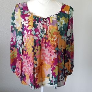 Anthropologie Liefsdottir Watercolor Silk Blouse